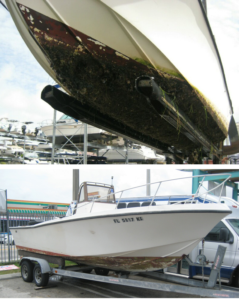 Cleaning boat bottom with muriatic acid